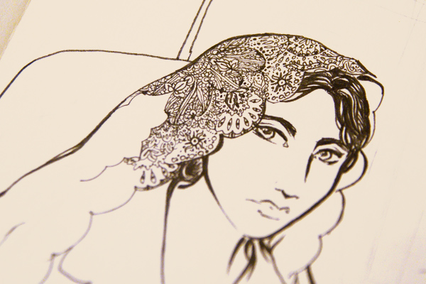 ink and pen drawing of a woman in a lace head scarf